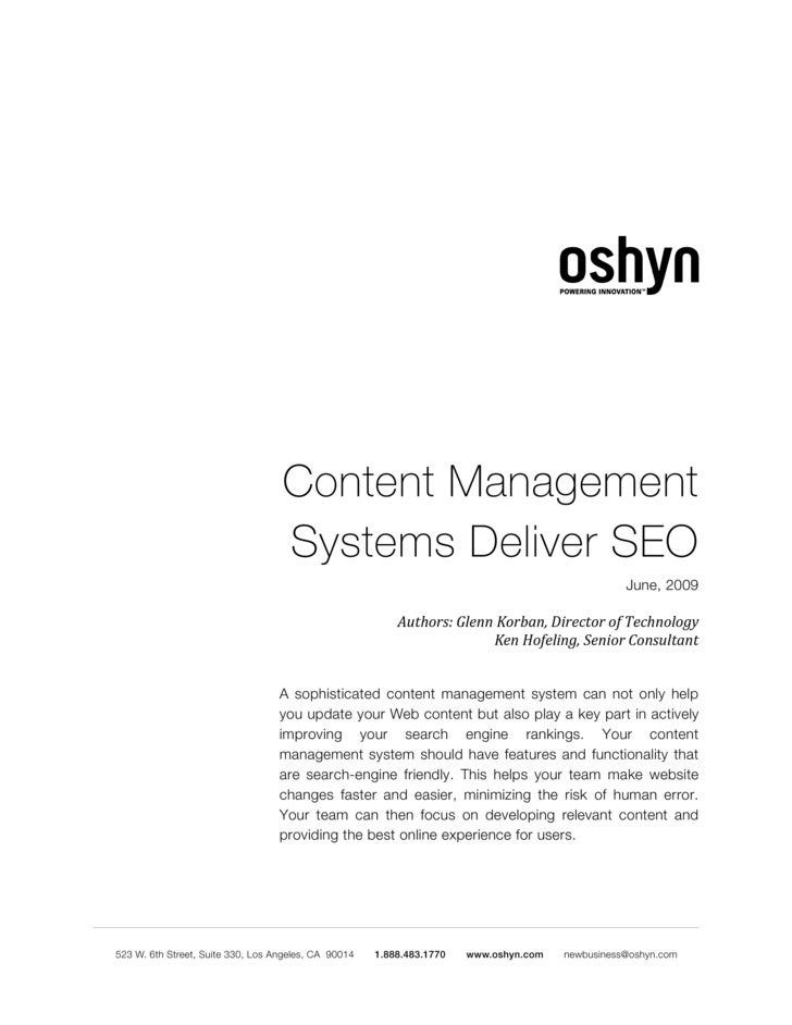 Content Management Systems Deliver SEO                                                     June, 2009                    A...