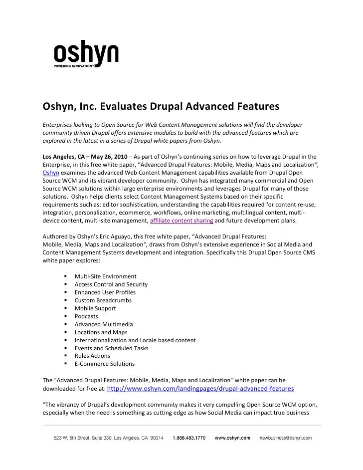Oshyn, Inc. Evaluates Drupal Advanced Features Enterprises looking to Open Source for Web Content Management solutions wil...