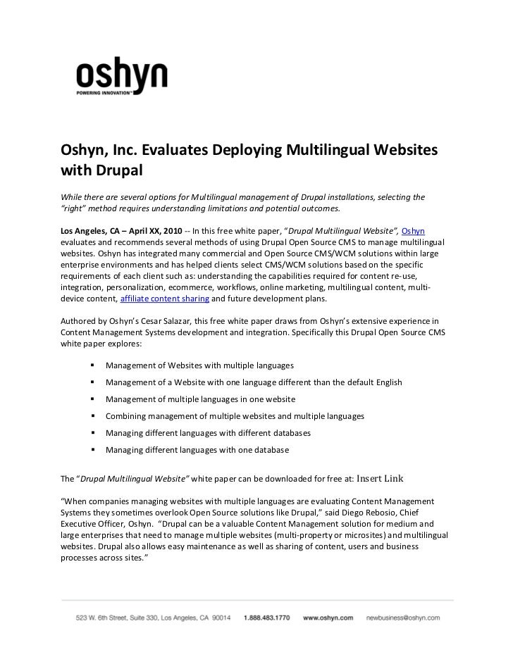 Oshyn, Inc. Evaluates Deploying Multilingual Websites with Drupal While there are several options for Multilingual managem...