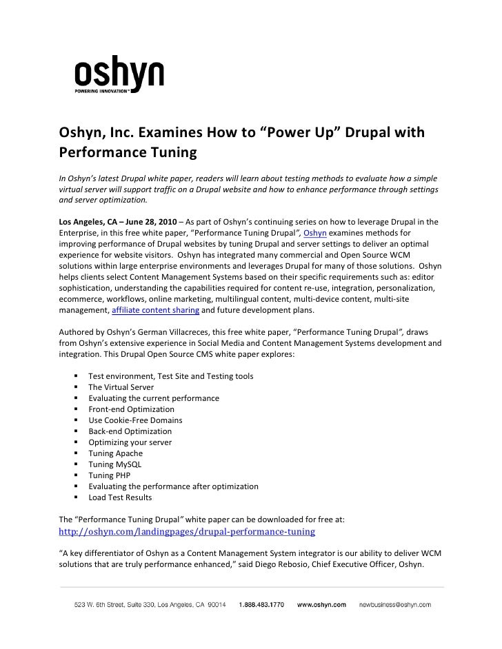 """Oshyn, Inc. Examines How to """"Power Up"""" Drupal with Performance Tuning In Oshyn's latest Drupal white paper, readers will l..."""