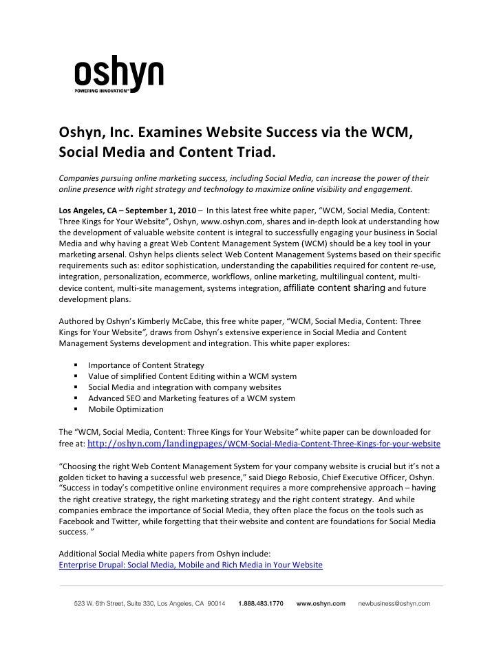 Oshyn, Inc. Examines Website Success via the WCM, Social Media and Content Triad. Companies pursuing online marketing succ...