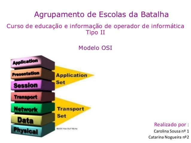 Agrupamento de Escolas da Batalha Curso de educação e informação de operador de informática Tipo II Modelo OSI Realizado p...