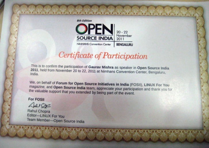 Certificate of Participation by LFY
