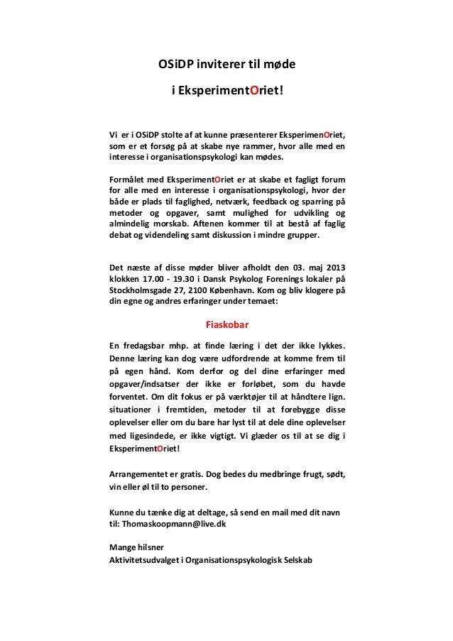 OSiDP inviterer til mødei EksperimentOriet!Vi er i OSiDP stolte af at kunne præsenterer EksperimenOriet,som er et forsøg p...