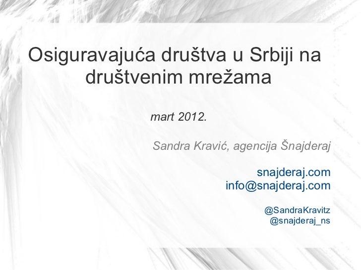 Osiguravajuća društva u Srbiji na      društvenim mrežama             mart 2012.             Sandra Kravić, agencija Šnajd...