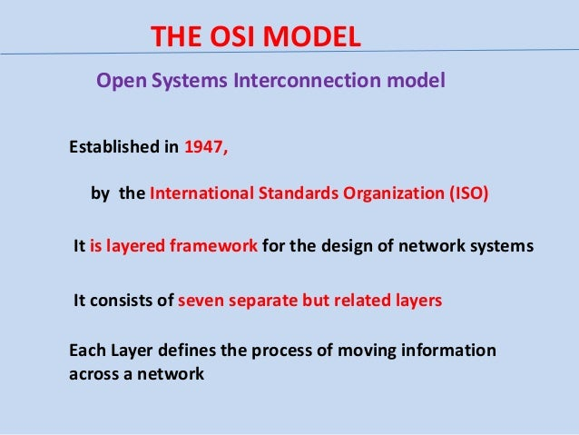 THE OSI MODEL Open Systems Interconnection model Established in 1947, by the International Standards Organization (ISO) It...