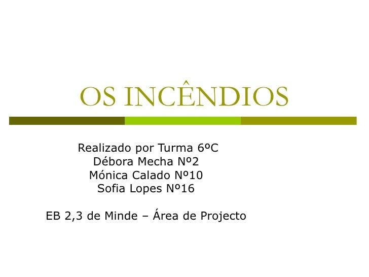 OS INCÊNDIOS Realizado por Turma 6ºC Débora Mecha Nº2  Mónica Calado Nº10  Sofia Lopes Nº16  EB 2,3 de Minde – Área de Pro...