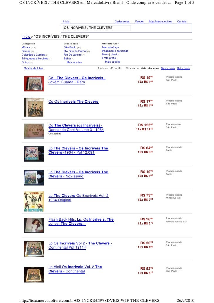 OS INCRÍVEIS / THE CLEVERS em MercadoLivre Brasil - Onde comprar e vender ... Page 1 of 5                                 ...