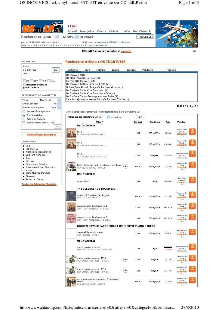 OS INCRIVEIS : cd, vinyl, maxi, 33T, 45T en vente sur CDandLP.com                                                         ...