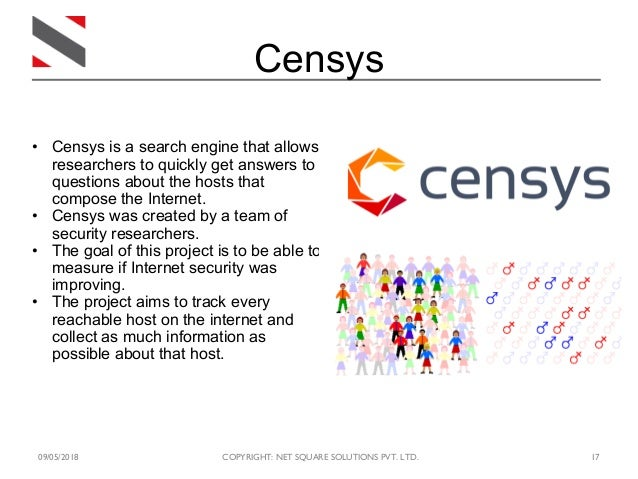 09/05/2018 COPYRIGHT: NET SQUARE SOLUTIONS PVT. LTD. 17 Censys • Censys is a search engine that allows researchers to quic...