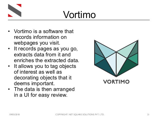 09/05/2018 COPYRIGHT: NET SQUARE SOLUTIONS PVT. LTD. 21 Vortimo • Vortimo is a software that records information on webpag...