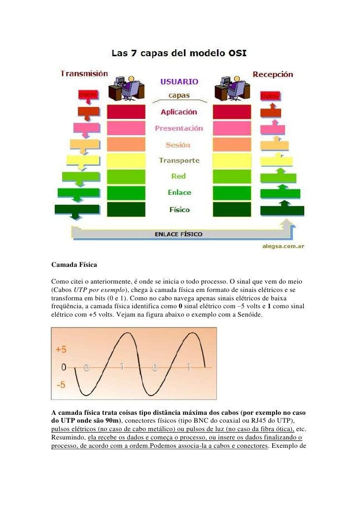Camada FísicaComo citei o anteriormente, é onde se inicia o todo processo. O sinal que vem do meio(Cabos UTP por exemplo),...