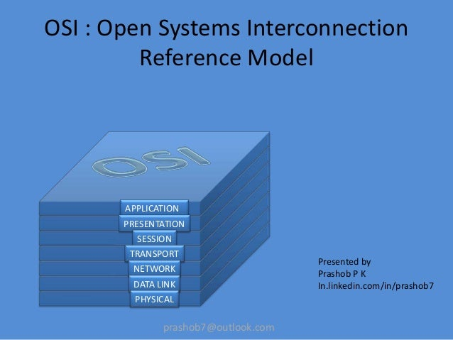 prashob7@outlook.comOSI : Open Systems InterconnectionReference ModelPresented byPrashob P KIn.linkedin.com/in/prashob7APP...