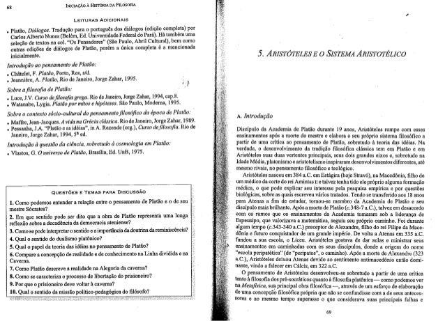 """65 INICIAÇÃO A HETÓRIA D_A FILOSOFIA  LEITURAS ADICIONAIS  """" .  T d ã rtu ês dos diálogos (edição completa) por .  Êlãllãt..."""