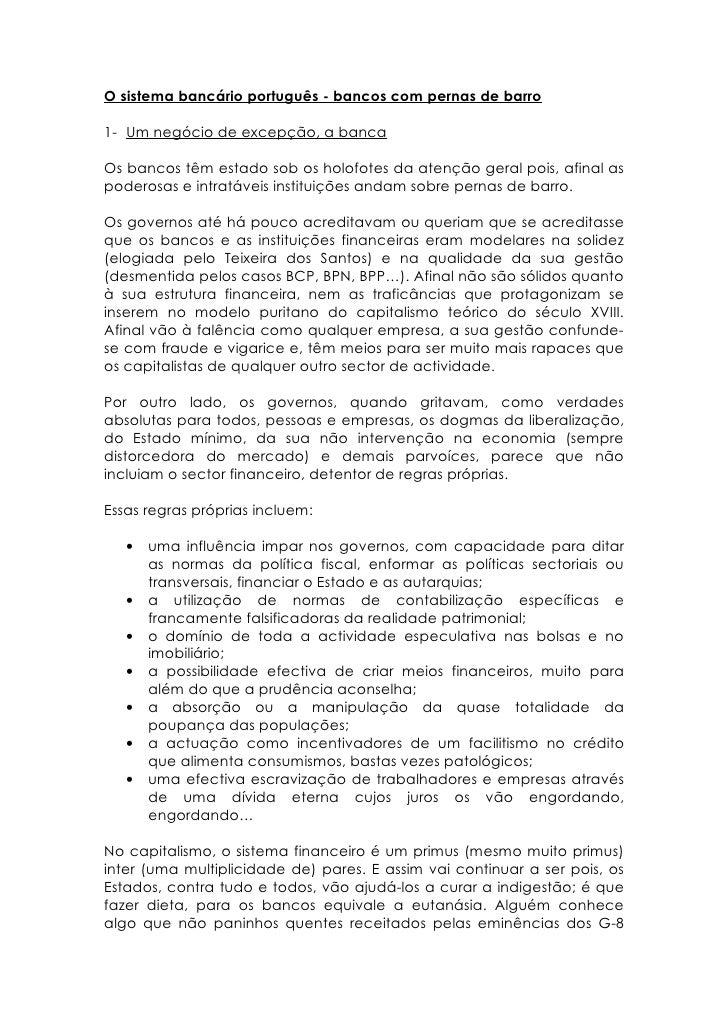 O sistema bancário português   bancos com pernas de barro