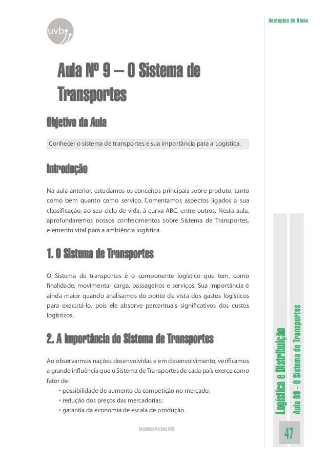 LogísticaeDistribuição Aula09-OSistemadeTransportes 47Faculdade On-Line UVB Anotações do Aluno uvb Aula Nº 9 – O Sistema d...