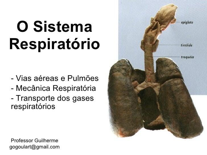 O Sistema Respiratório  - Vias aéreas e Pulmões - Mecânica Respiratória - Transporte dos gases respiratórios     Professor...