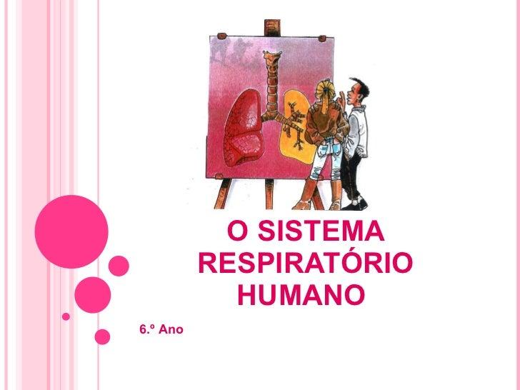 O SISTEMA RESPIRATÓRIO HUMANO  6.º Ano