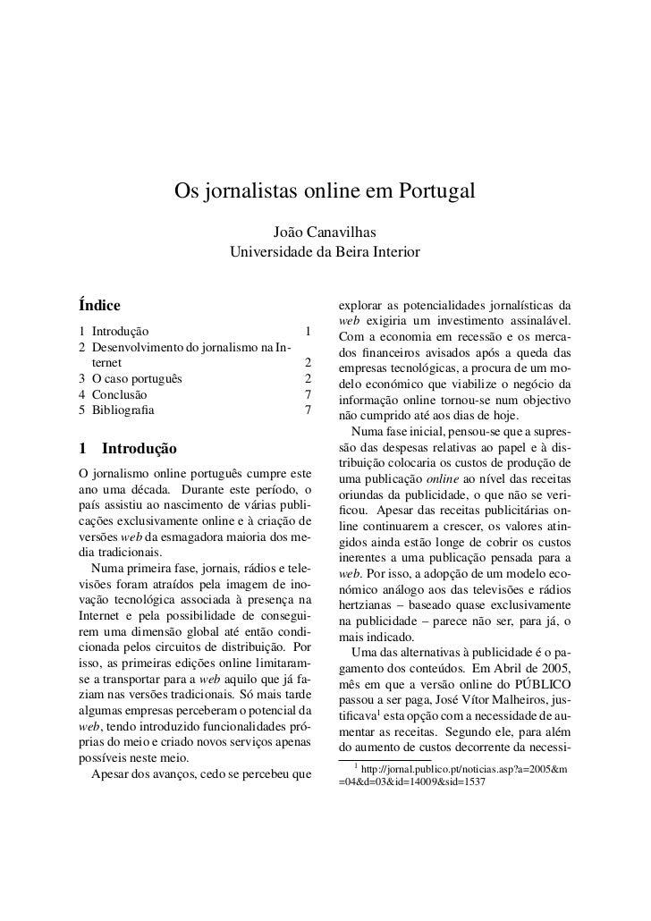 Os jornalistas online em Portugal                                   João Canavilhas                             Universida...