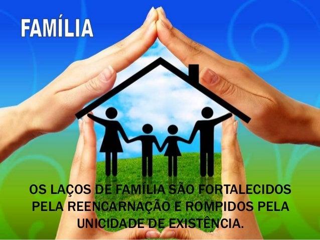 OS LAÇOS DE FAMÍLIA SÃO FORTALECIDOS PELA REENCARNAÇÃO E ROMPIDOS PELA UNICIDADE DE EXISTÊNCIA.