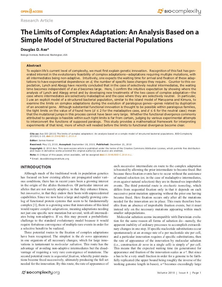 Research ArticleThe Limits of Complex Adaptation: An Analysis Based on aSimple Model of Structured Bacterial PopulationsDo...
