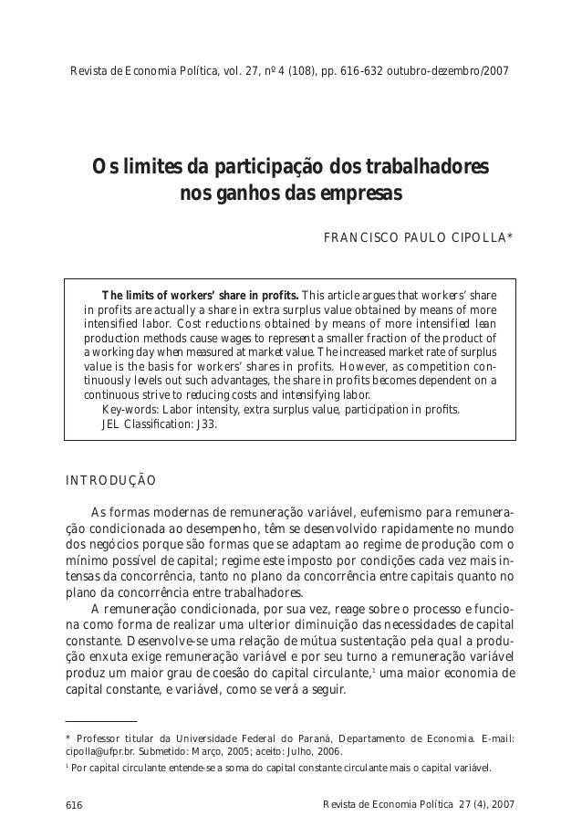 Revista de Economia Política, vol. 27, nº 4 (108), pp. 616-632 outubro-dezembro/2007  Os limites da participação dos traba...