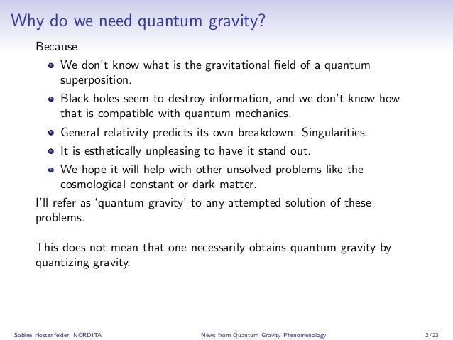 News from Quantum Gravity Phenomenology Slide 2