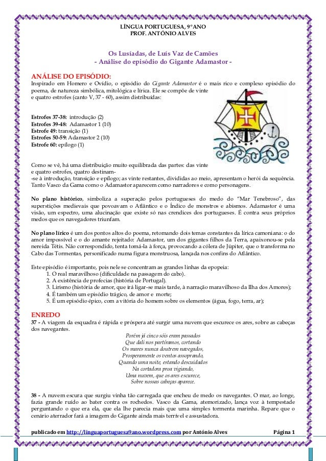 LÍNGUA PORTUGUESA, 9ºANO                                        PROF. ANTÓNIO ALVES                              Os Lusíad...