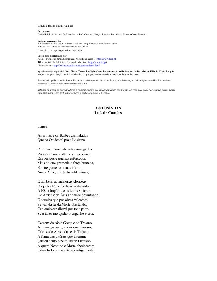 Os Lusíadas, de Luís de Camões  Texto-base: CAMÕES, Luís Vaz de. Os Lusíadas de Luís Camões. Direção Literária Dr. Álvaro ...