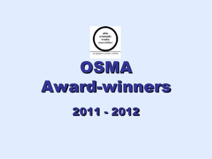 OSMAAward-winners   2011 - 2012