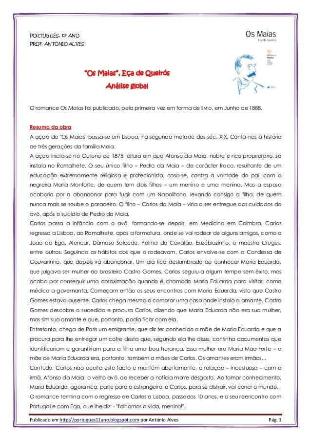 """Publicado em http://portugues11ano.blogspot.com por António Alves Pág. 1 PORTUGUÊS, 11º ANO PROF. ANTÓNIO ALVES """"Os Maias""""..."""