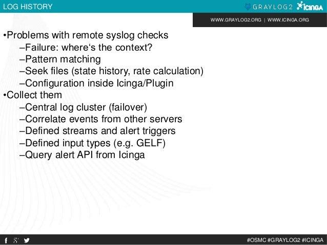 WWW.GRAYLOG2.ORG | WWW.ICINGA.ORG  #OSMC #GRAYLOG2 #ICINGA  LOG HISTORY  •Problems with remote syslog checks  –Failure: wh...