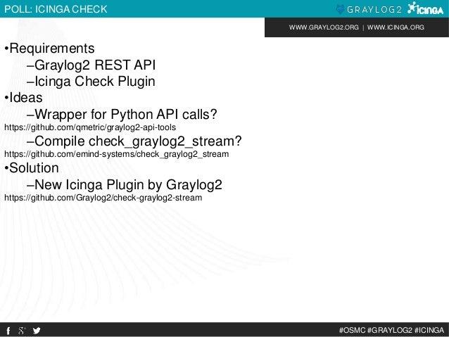WWW.GRAYLOG2.ORG | WWW.ICINGA.ORG  #OSMC #GRAYLOG2 #ICINGA  POLL: ICINGA CHECK  •Requirements  –Graylog2 REST API  –Icinga...