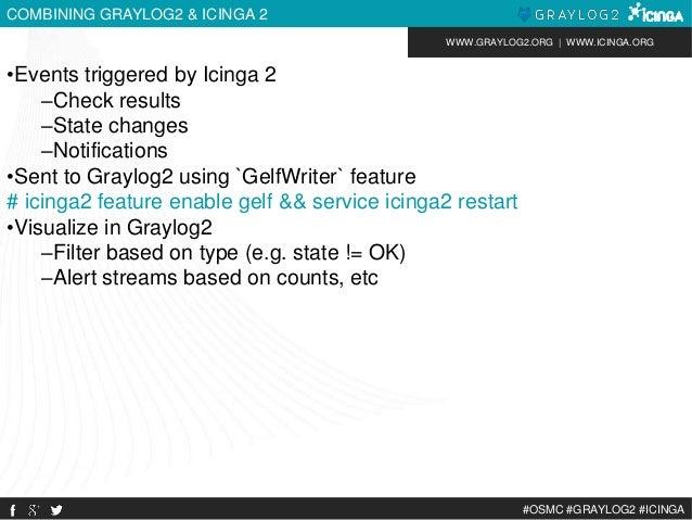 WWW.GRAYLOG2.ORG | WWW.ICINGA.ORG  #OSMC #GRAYLOG2 #ICINGA  COMBINING GRAYLOG2 & ICINGA 2  •Events triggered by Icinga 2  ...