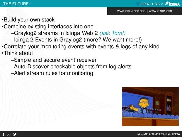 "WWW.GRAYLOG2.ORG | WWW.ICINGA.ORG  #OSMC #GRAYLOG2 #ICINGA  ""THE FUTURE""  •Build your own stack  •Combine existing interfa..."