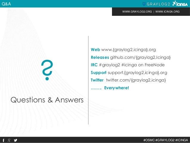 WWW.GRAYLOG2.ORG | WWW.ICINGA.ORG  #OSMC #GRAYLOG2 #ICINGA  Q&A  Web www.{graylog2,icinga}.org  Releases github.com/{grayl...