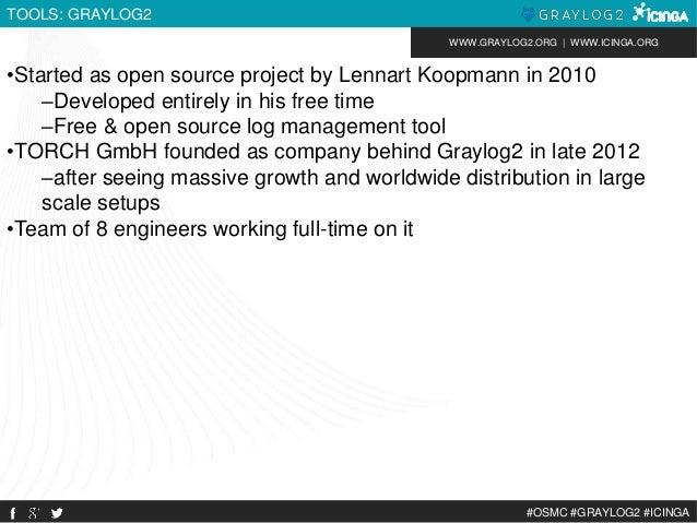 WWW.GRAYLOG2.ORG | WWW.ICINGA.ORG  #OSMC #GRAYLOG2 #ICINGA  TOOLS: GRAYLOG2  •Started as open source project by Lennart Ko...