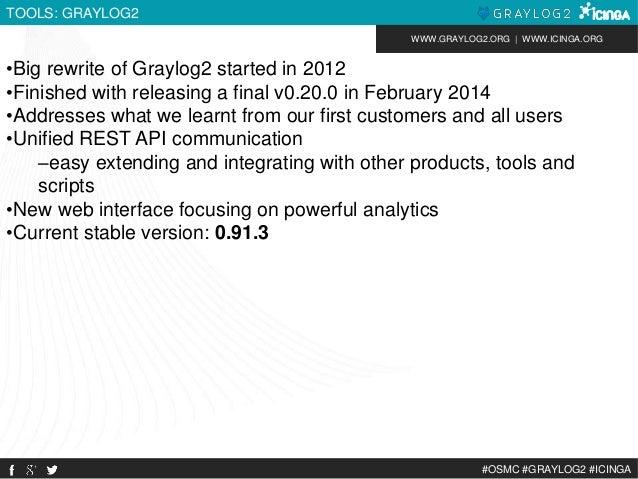 WWW.GRAYLOG2.ORG | WWW.ICINGA.ORG  #OSMC #GRAYLOG2 #ICINGA  TOOLS: GRAYLOG2  •Big rewrite of Graylog2 started in 2012  •Fi...