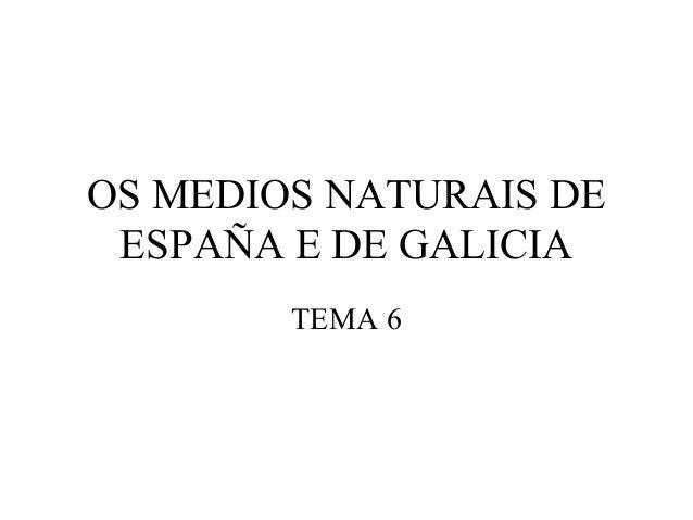 OS MEDIOS NATURAIS DE ESPAÑA E DE GALICIA TEMA 6