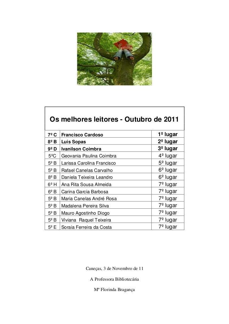 Os melhores leitores - Outubro de 20117º C Francisco Cardoso                          1º lugar8º B Luís Sopas             ...
