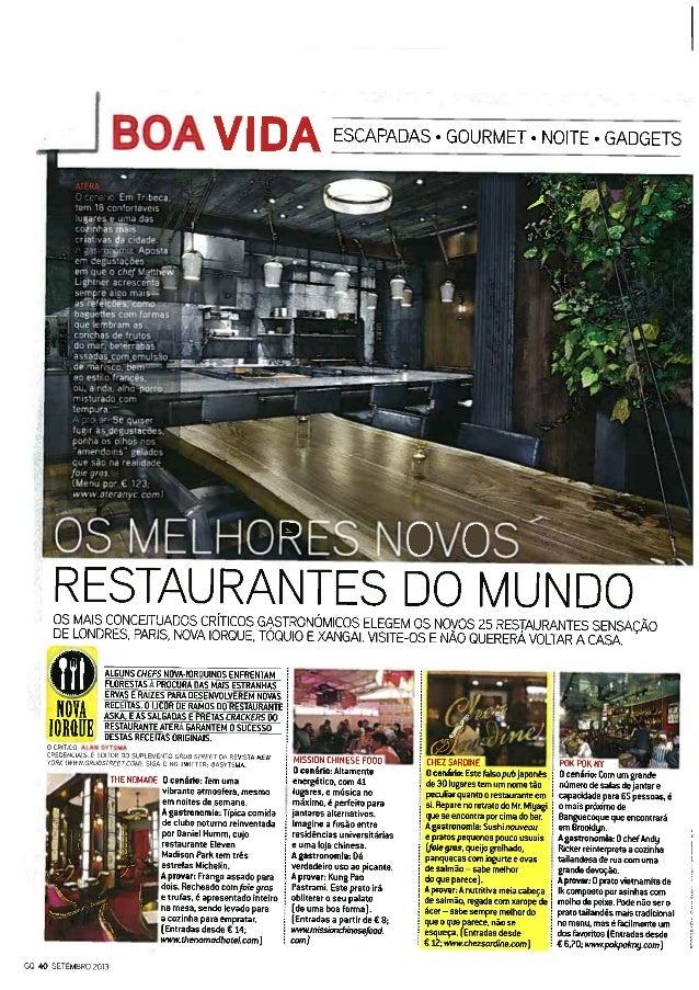 Os melhores novos restaurantes do mundo - Miguel Guedes de Sousa