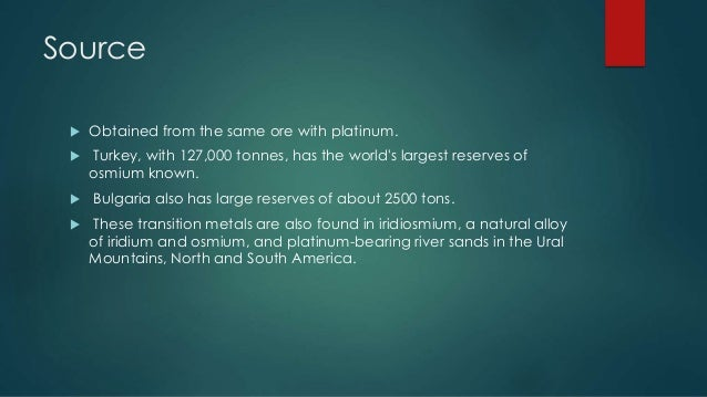 a description of osmium which was discovered in 1803 by tennant Osmium was discovered in 1803 by smithson tennant and william hyde wollaston in 1803, smithson tennant analyzed the insoluble residue and concluded that it must.