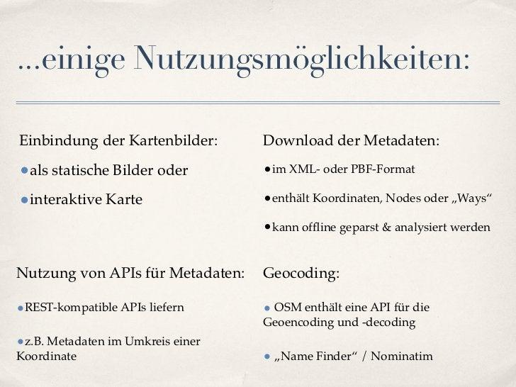 ...einige Nutzungsmöglichkeiten:Einbindung der Kartenbilder:       Download der Metadaten:•als statische Bilder oder      ...