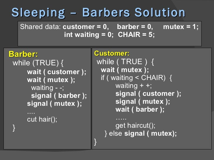 sleeping barber problem with multiple barbers