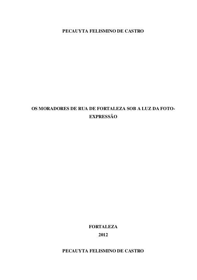 PECAUYTA FELISMINO DE CASTRO OS MORADORES DE RUA DE FORTALEZA SOB A LUZ DA FOTO- EXPRESSÃO FORTALEZA 2012 PECAUYTA FELISMI...