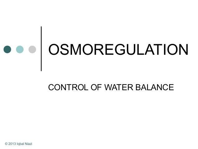 OSMOREGULATION CONTROL OF WATER BALANCE © 2013 Iqbal Niazi