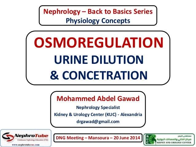 OSMOREGULATION URINE DILUTION & CONCETRATION Mohammed Abdel Gawad Nephrology Specialist Kidney & Urology Center (KUC) - Al...