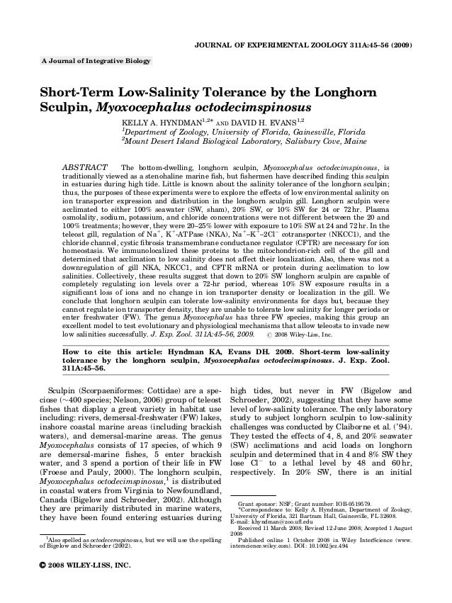 JOURNAL OF EXPERIMENTAL ZOOLOGY 311A:45–56 (2009)A Journal of Integrative BiologyShort-Term Low-Salinity Tolerance by the ...