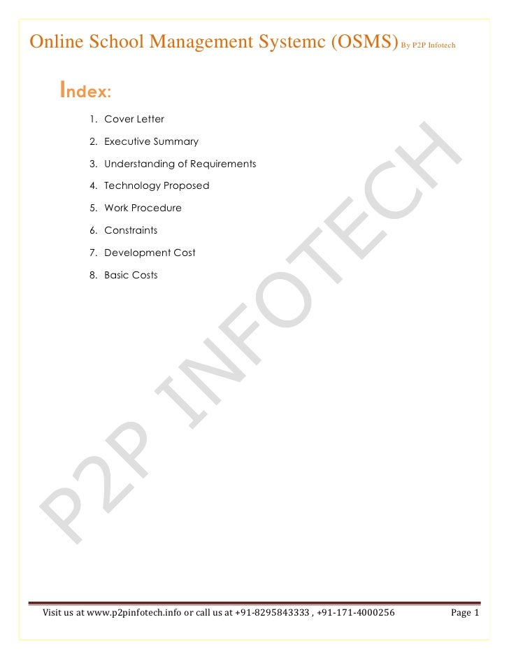 Index:<br />Cover Letter<br />Executive Summary<br />Understanding of Requirements<br />Technology Proposed<br />Work Proc...