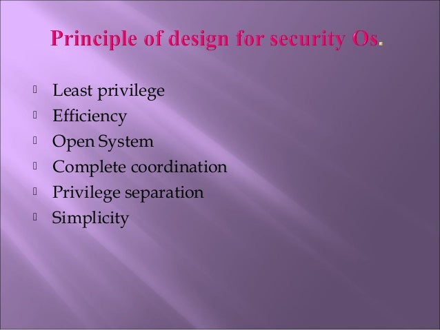 Design For Security In Operating System